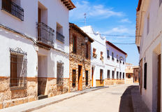 Ordinary street of spanish town. El Toboso Royalty Free Stock Photo