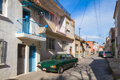 Ordinary street view with small living houses, Izmir Stock Photo