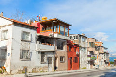 Ordinary street view with small living houses, Izmir Stock Photos