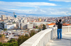 Ordinary tourist takes photo of Izmir city Stock Images