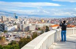 Ordinary tourist takes photo of Izmir city Stock Images