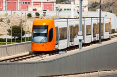 Ordinary tram on street of city. Alicante Royalty Free Stock Photos