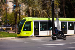 Ordinary tram on street of city. Murcia Stock Photography