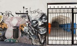 Graffiti street walk in Granada with Louis Armstrong royalty free stock photos