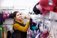 Ordinary woman choosing underwear Royalty Free Stock Photo
