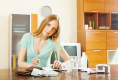 Ordinary woman counting the cost of medications Stock Photography
