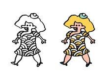 Ordinary woman in pattern dress Stock Photo