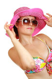 Ordinary woman in swimsuit and hat Stock Image