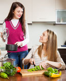 Ordinary women cooking food Stock Photography