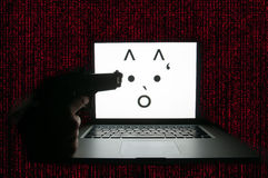 Ordinateur attaqué par le ransomware Images libres de droits