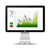 Ordinateur avec le diagramme de marché boursier d'isolement au-dessus du blanc Photographie stock libre de droits