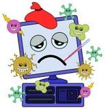 Ordinateur avec le virus illustration stock