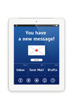 Ordinateur blanc de comprimé avec une interface de courrier. Images stock