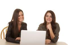 Ordinateur chacun des deux de deux femmes heureux photographie stock libre de droits