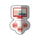 ordinateur coloré d'écran d'autocollant avec des apps d'icône illustration stock