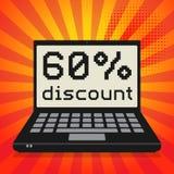 Ordinateur, concept d'affaires avec le texte remise de 60 pour cent Photo stock