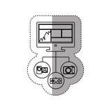 ordinateur d'écran de silhouette d'autocollant avec des apps d'icône illustration libre de droits