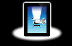 Ordinateur d'achats d'Internet bloqué Photographie stock libre de droits