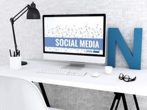 ordinateur 3d avec le MEDIA de mots SOCIAL illustration de vecteur