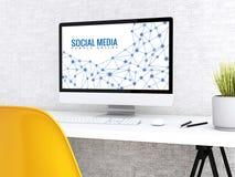 ordinateur 3d avec le MEDIA de mots SOCIAL illustration libre de droits
