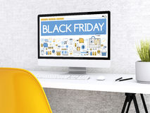 ordinateur 3d avec le mot BLACK FRIDAY Image libre de droits