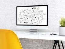 ordinateur 3d avec le mot COMMERCE ÉLECTRONIQUE illustration stock
