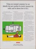 Ordinateur de bloc-notes de NCR de publicité par affichage, puce de processeur 386sl en magazine à partir de 1992, stratégie de c photographie stock libre de droits