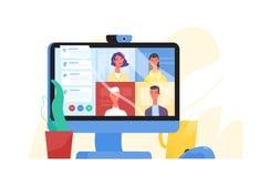 Ordinateur de bureau avec le groupe de collègues participant à la vidéoconférence Logiciel pour la vidéoconférence et en ligne illustration de vecteur