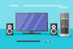 Ordinateur de bureau avec le moniteur, les haut-parleurs, le clavier et la souris illustration stock