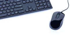 Ordinateur de clavier avec la souris sur le fond blanc Image libre de droits