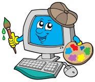 ordinateur de dessin animé d'artiste Image stock