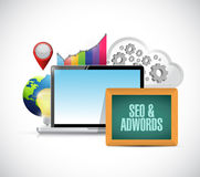 ordinateur de données de seo et d'adwords Images stock