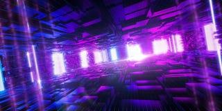 Ordinateur de Quantum, stockage, r?alit? virtuelle, lampe au n?on bleue de rose futuriste