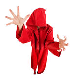 Ordinateur de secours drôle dans la robe rouge. Lentille de Fisheye Images libres de droits