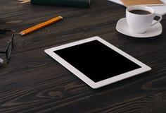 Ordinateur de tablette avec l'écran blanc Photos libres de droits