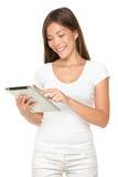 Ordinateur de tablette de fixation de femme images stock