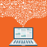 Ordinateur, données, apps et technologie de nuage Image libre de droits