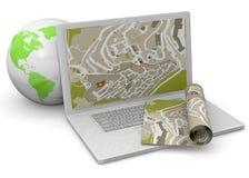 Ordinateur et concept de GPS - 3D Photo stock