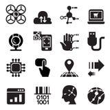 Ordinateur et ensemble électronique d'icône de technologie Image libre de droits