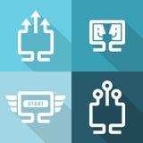 Ordinateur et icônes de connexions réseau réglées Illustration de vecteur Image stock