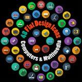 Ordinateur et icônes de multimédia illustration libre de droits