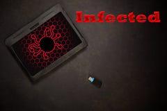 Ordinateur infecté Tablett photos stock
