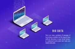 Ordinateur isométrique, ordinateur portable sur le fond bleu Code de Matrix illustration stock