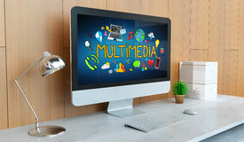 Ordinateur moderne avec le rendu de la présentation multimédia 3D Photos stock
