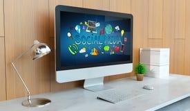 Ordinateur moderne avec le rendu social de la présentation 3D de media illustration stock