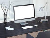 Ordinateur moderne sur la table en bois noire rendu 3d Image libre de droits