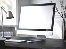 Ordinateur moderne sur la table noire rendu 3d Images libres de droits