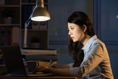 Ordinateur portable asiatique d'utilisation de femme d'affaires fonctionnant des heures supplémentaires de fin de nuit Photos libres de droits
