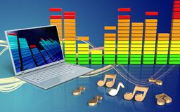 ordinateur portable audio du spectre 3d illustration libre de droits