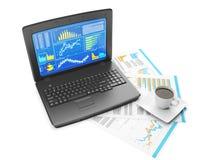 Ordinateur portable avec des graphiques de gestion Images stock